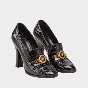Versace Patent Mock Croc Loafer Heels - black